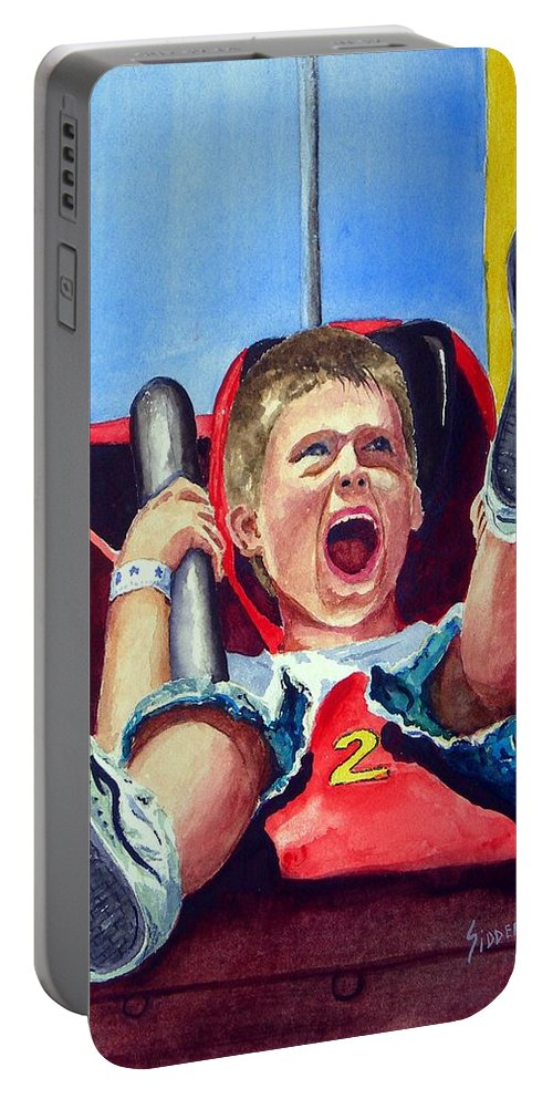 Boy Portable Battery Charger featuring the painting Goin' Down by Sam Sidders