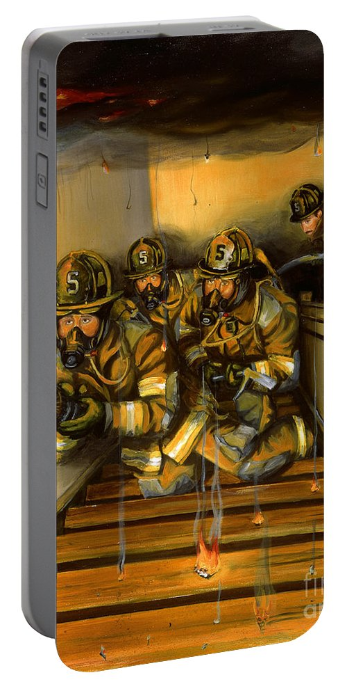 Fire Fighting Portable Battery Charger featuring the painting Goin' To Work by Paul Walsh