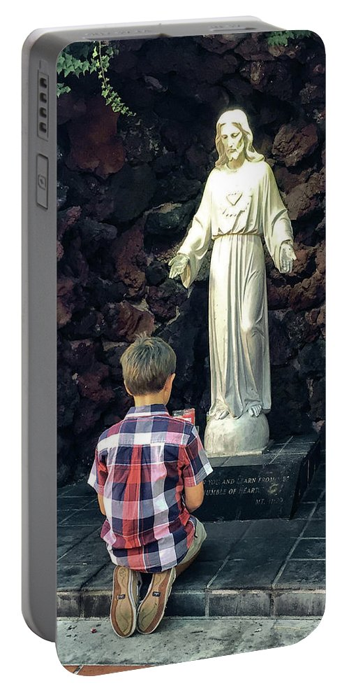 Child Praying Portable Battery Charger featuring the photograph Going Before The Sacred Heart Of Jesus by Davy Cheng