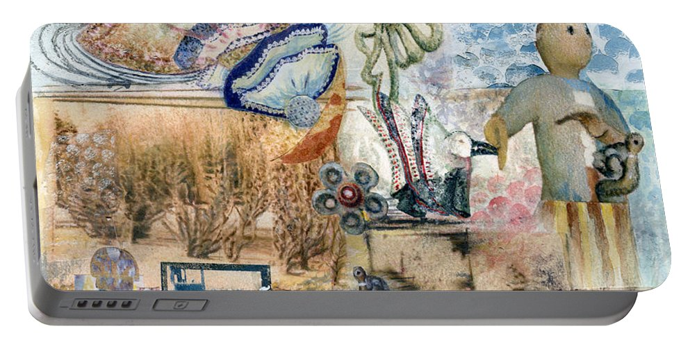 Fantasy Digital Art Portable Battery Charger featuring the painting Going Down by Valerie Meotti