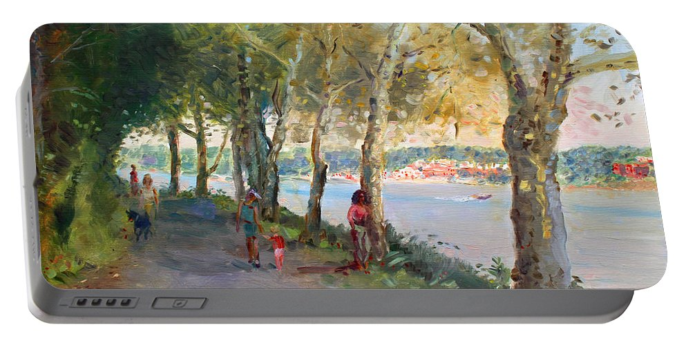 Strolling Portable Battery Charger featuring the painting Going For A Stroll by Ylli Haruni