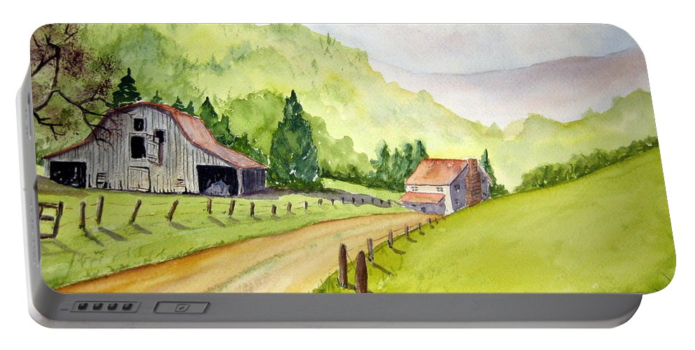 Barns Portable Battery Charger featuring the painting Going Home by Julia RIETZ
