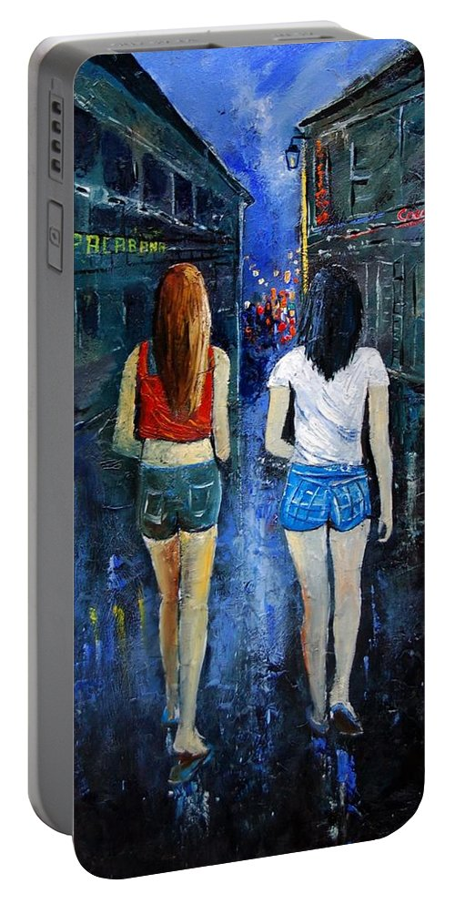 Girl Portable Battery Charger featuring the painting Going Out Tonight by Pol Ledent