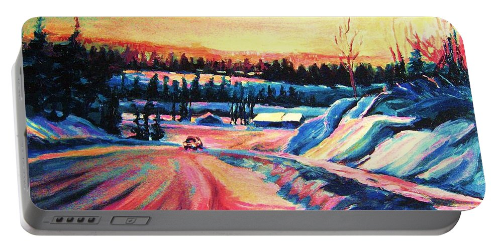 Winterscene Portable Battery Charger featuring the painting Going Places by Carole Spandau