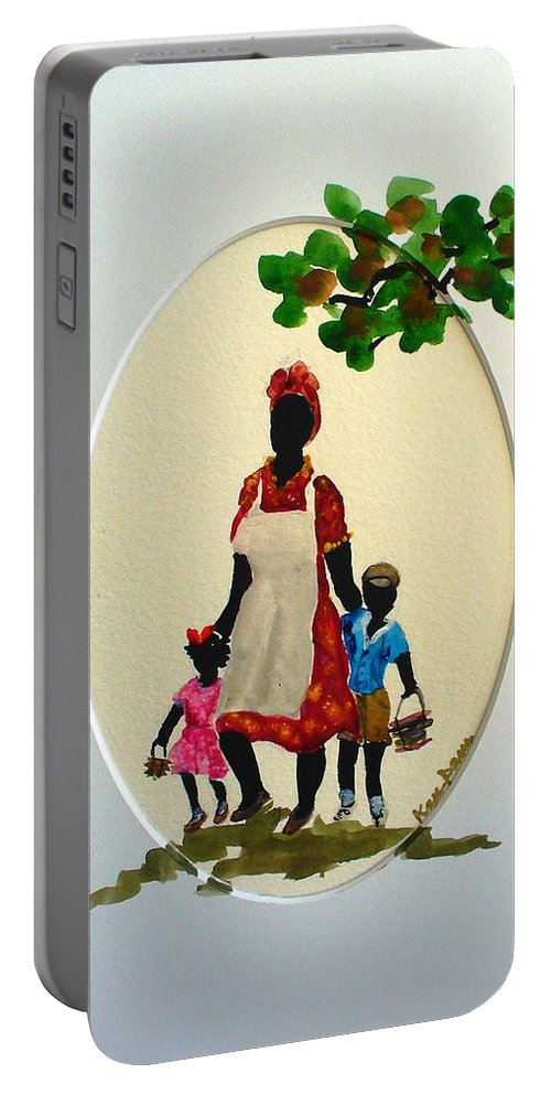 Caribbean Children Portable Battery Charger featuring the painting Going To School by Karin Dawn Kelshall- Best