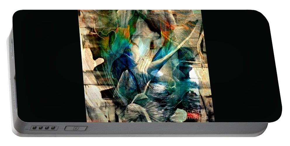 Abstract Art Portable Battery Charger featuring the painting 'going Within' by Nora Doherty
