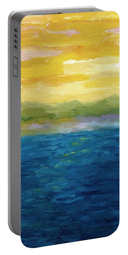 Lake Portable Battery Charger featuring the painting Gold And Pink Sunset by Michelle Calkins
