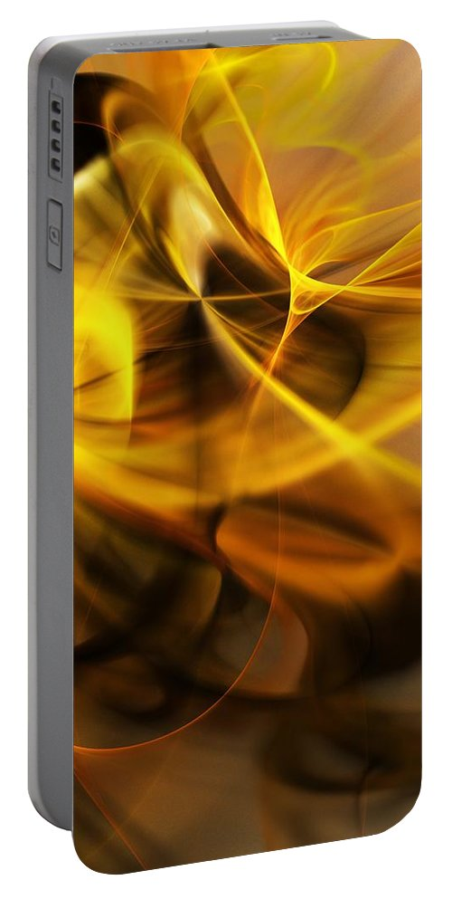 Fractal Portable Battery Charger featuring the digital art Gold and Shadows by David Lane