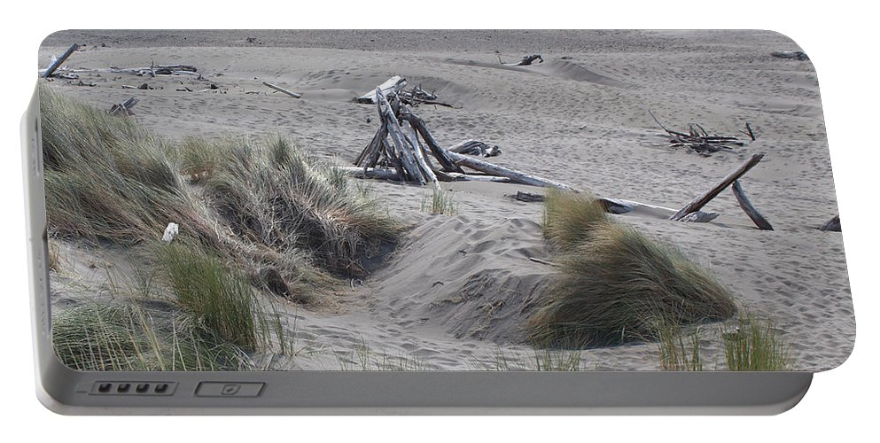 Driftwood Portable Battery Charger featuring the photograph Gold Beach Oregon Beach Grass 18 by Lydia Miller