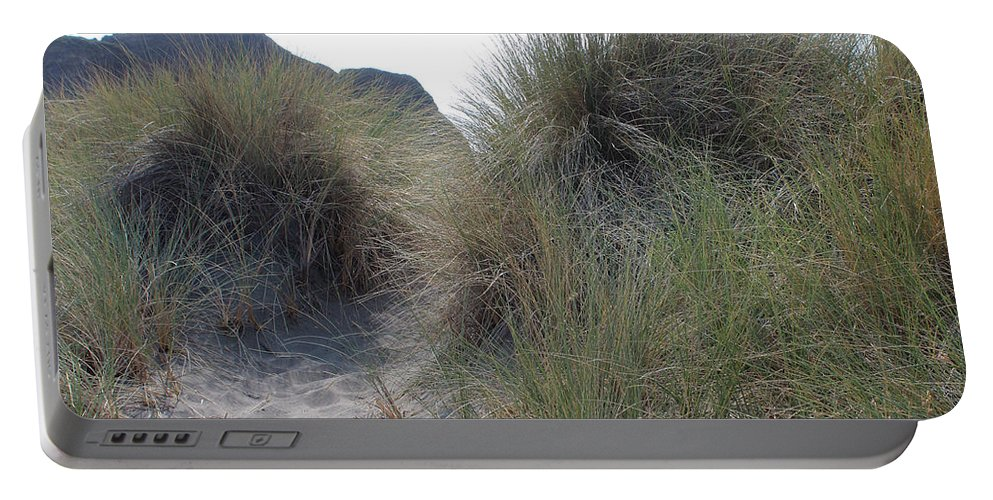 Driftwood Portable Battery Charger featuring the photograph Gold Beach Oregon Beach Grass 5 by Lydia Miller