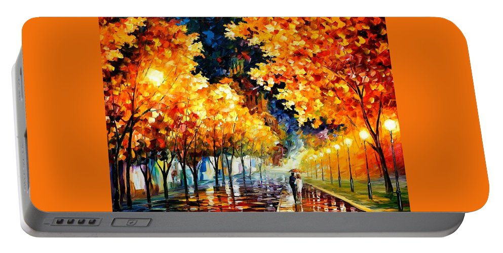 Afremov Portable Battery Charger featuring the painting Gold Boulevard by Leonid Afremov