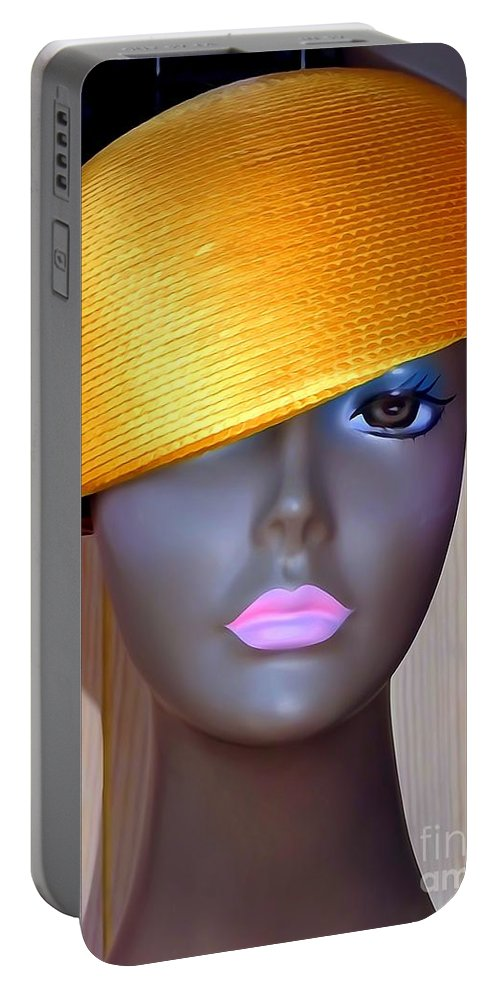 Mannequins Portable Battery Charger featuring the photograph Gold Bowl Brenda by Ed Weidman