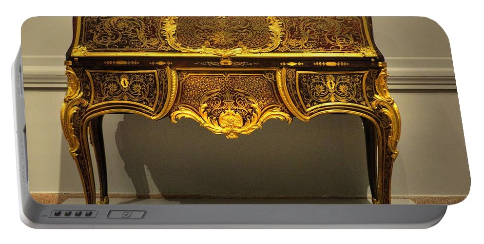 Gold Portable Battery Charger featuring the photograph Gold Desk by FineArtRoyal Joshua Mimbs