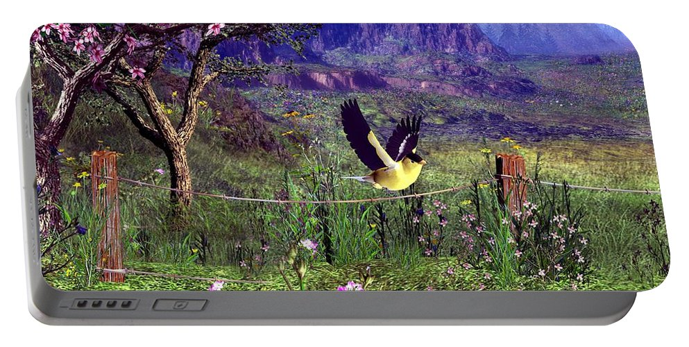 Birds Portable Battery Charger featuring the digital art Gold Finch In The Spring Time by John Junek