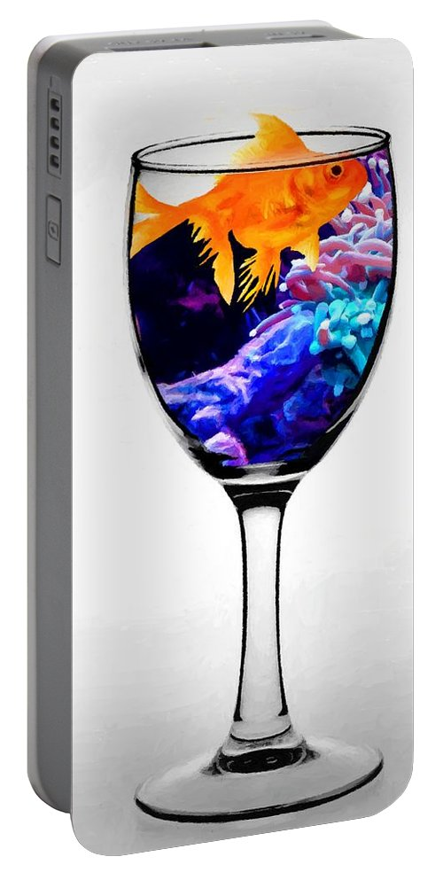 Animals Portable Battery Charger featuring the photograph Gold Fish by MS Fineart Creations