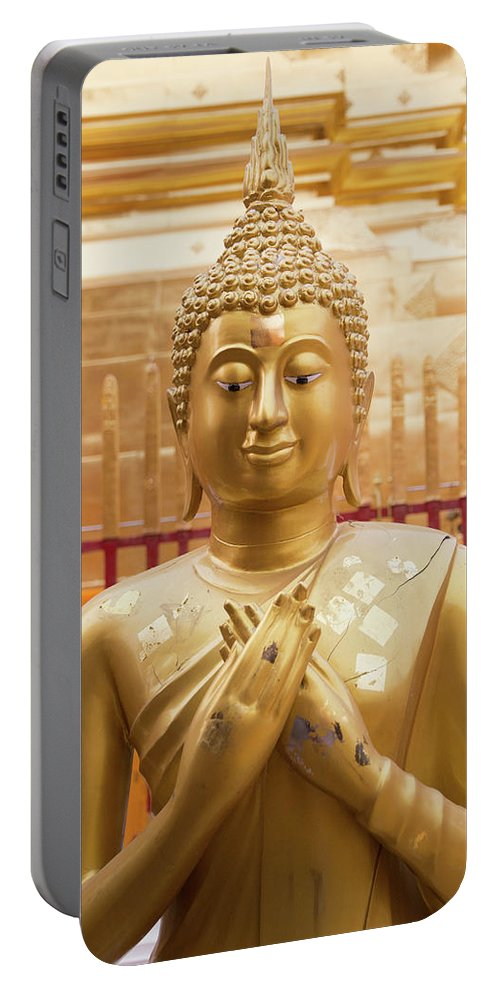 Asia Portable Battery Charger featuring the photograph Gold Leaf Buddha by Emily M Wilson