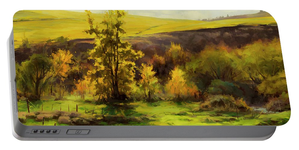 Landscape Portable Battery Charger featuring the painting Gold Leaf by Steve Henderson