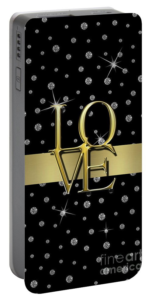 Gold Love Portable Battery Charger featuring the digital art Gold Love by Anne Kitzman