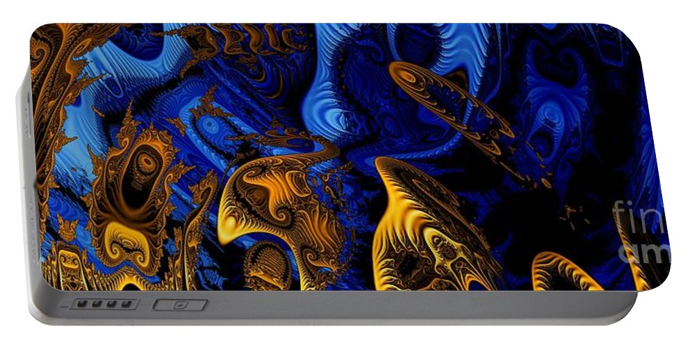 Fractal Art Portable Battery Charger featuring the digital art Gold On Blue by Ron Bissett