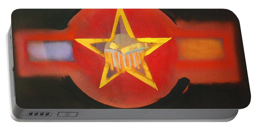 Usaaf Portable Battery Charger featuring the painting Gold On Heat by Charles Stuart
