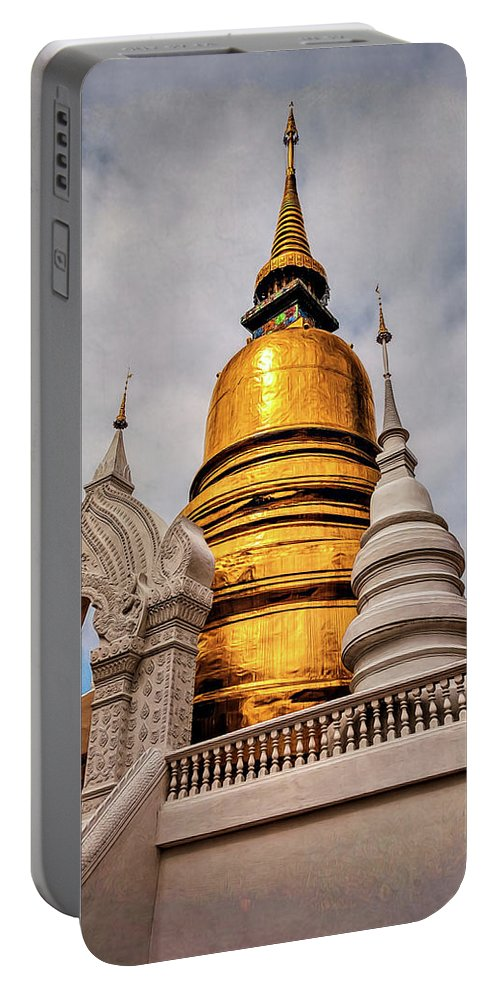 Arch Portable Battery Charger featuring the photograph Gold Stupa by Maria Coulson