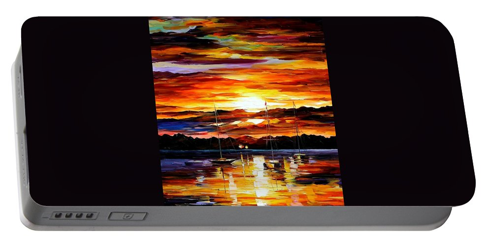 Afremov Portable Battery Charger featuring the painting Gold Sunset by Leonid Afremov