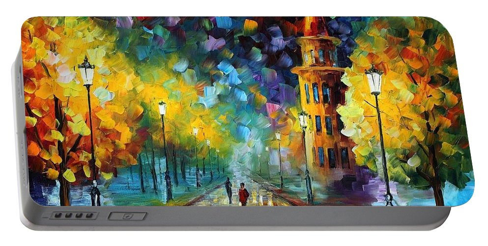 Afremov Portable Battery Charger featuring the painting Gold Winter by Leonid Afremov
