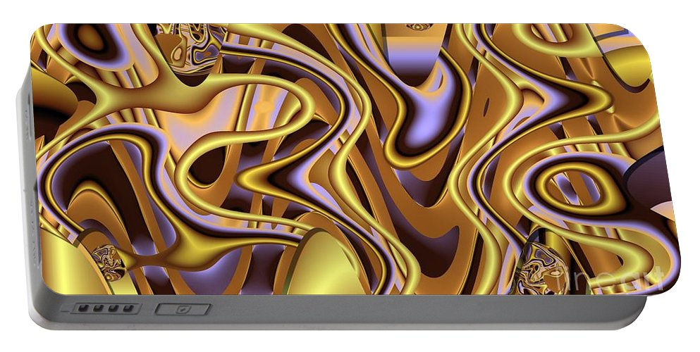 Abstract Portable Battery Charger featuring the digital art Golden Bangle by Ron Bissett