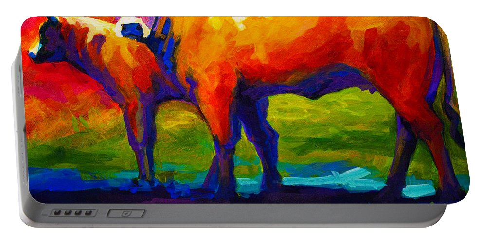 Cows Portable Battery Charger featuring the painting Golden Beauty by Marion Rose