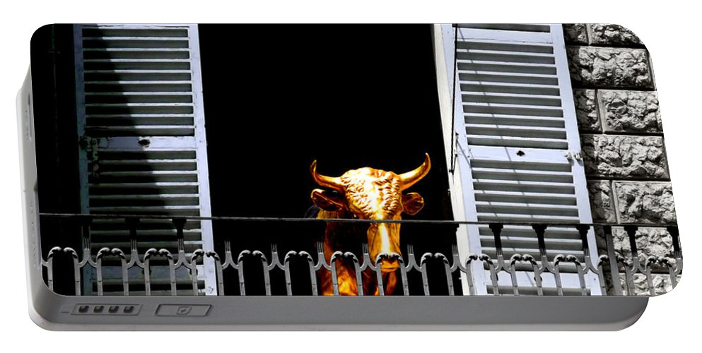 Bull Portable Battery Charger featuring the photograph Golden Bull by Charles Stuart