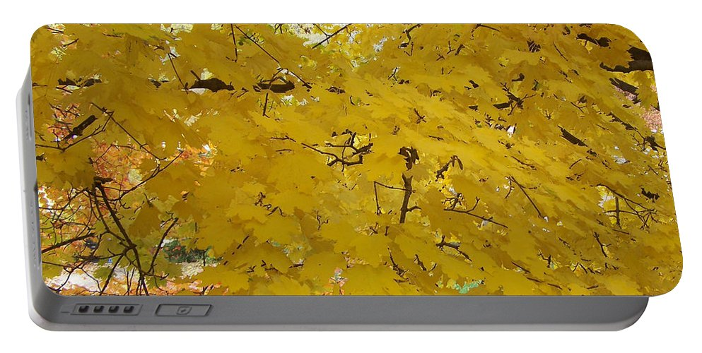 Fall Autum Trees Maple Yellow Portable Battery Charger featuring the photograph Golden Canopy by Karin Dawn Kelshall- Best