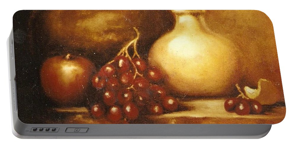 Still Life Portable Battery Charger featuring the painting Golden Carafe by Jordana Sands