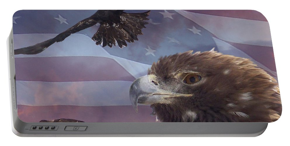 American Flag Portable Battery Charger featuring the photograph Golden Eagle Collage by Ernie Echols