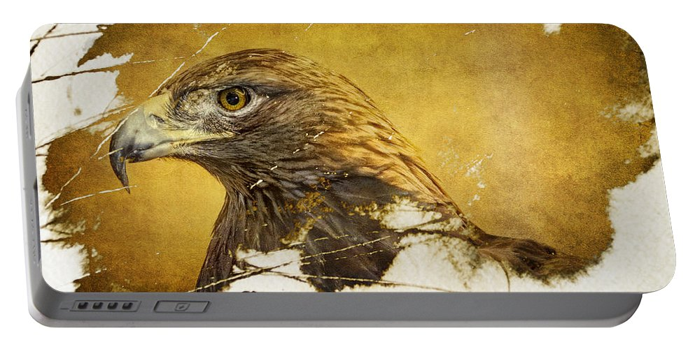 Golden Eagle Portable Battery Charger featuring the photograph Golden Eagle Grunge Portrait by Eleanor Abramson