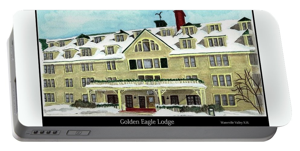 Gel Portable Battery Charger featuring the painting Golden Eagle Lodge by Tina Newcomb