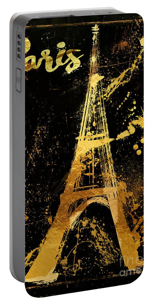 Eiffel Tower Portable Battery Charger featuring the painting Golden Eiffel Tower Paris by Mindy Sommers