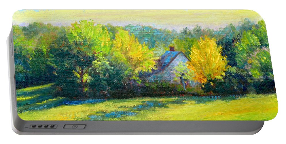 Landscape Portable Battery Charger featuring the painting Golden Evening by Keith Burgess