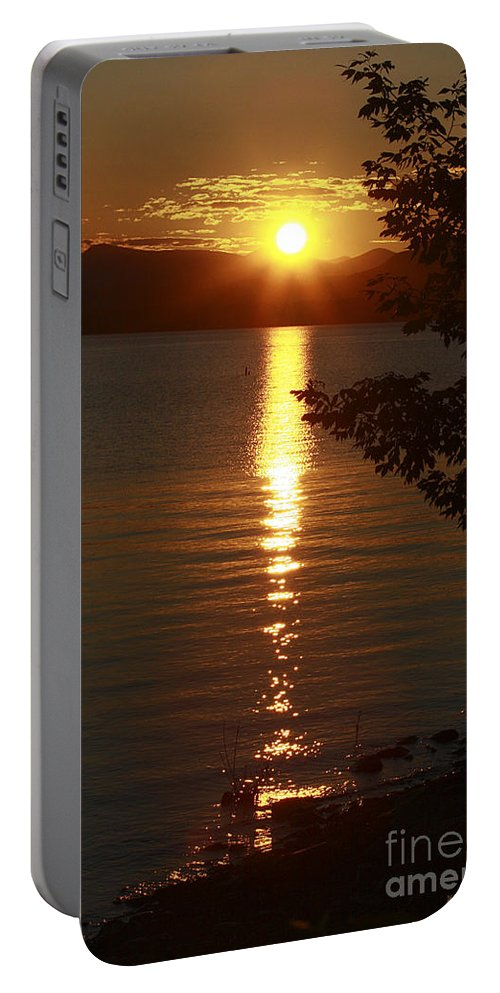 Sunset Portable Battery Charger featuring the photograph Golden Evening Sun Rays by Deborah Benoit