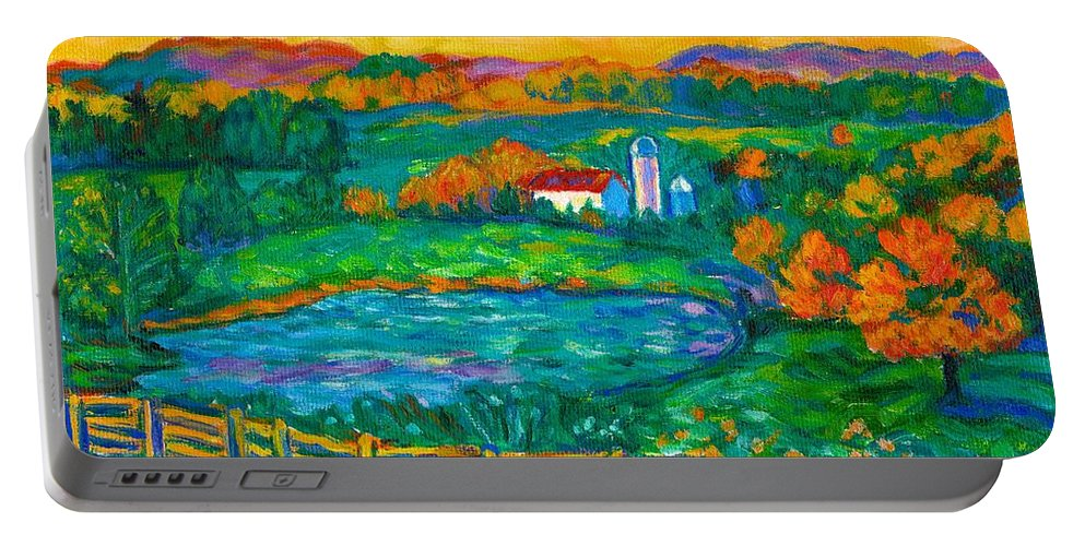 Landscape Portable Battery Charger featuring the painting Golden Farm Scene Sketch by Kendall Kessler