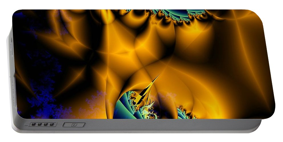 Fractal Image Portable Battery Charger featuring the digital art Golden Flag by Ron Bissett