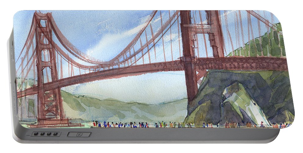 Landscape Portable Battery Charger featuring the painting Golden Gate Bridge From Fort Baker, Ca by Judith Kunzle