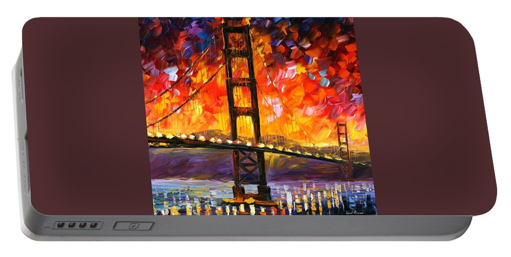 City Portable Battery Charger featuring the painting Golden Gate Bridge by Leonid Afremov
