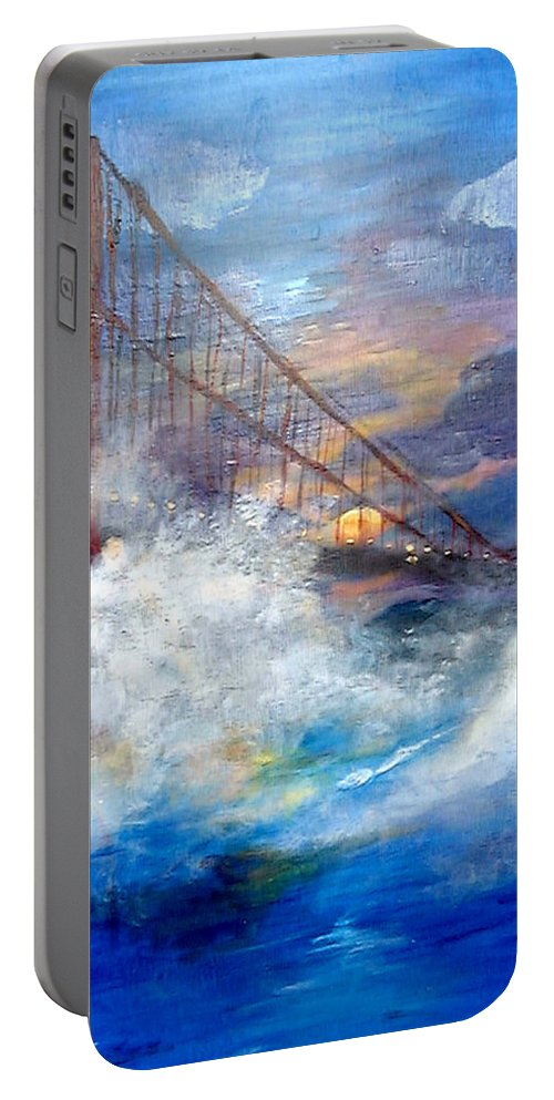 Golden Gate Portable Battery Charger featuring the painting Golden Gate Sunset by Travis Day