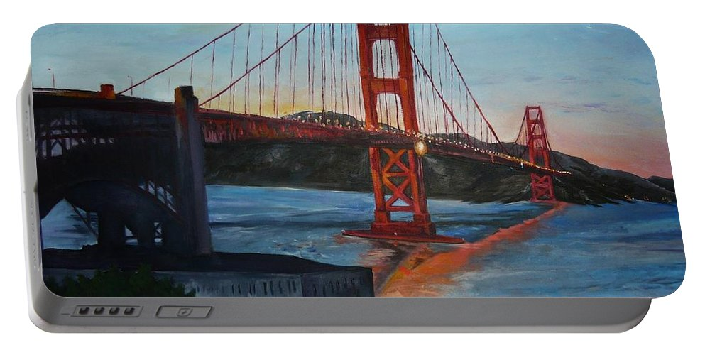 San Francisco Portable Battery Charger featuring the painting Golden Gate by Travis Day