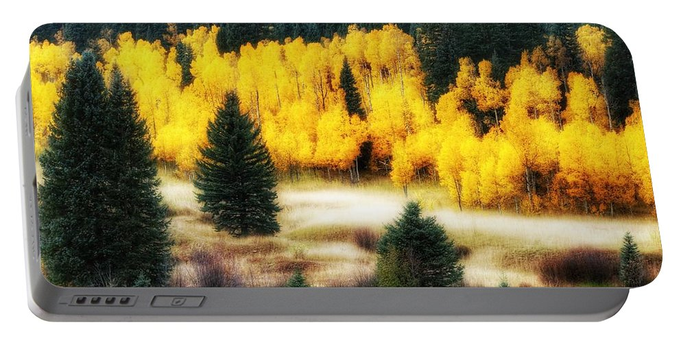 Aspen Meadow Portable Battery Charger featuring the photograph Golden Glow by LeAnne Perry