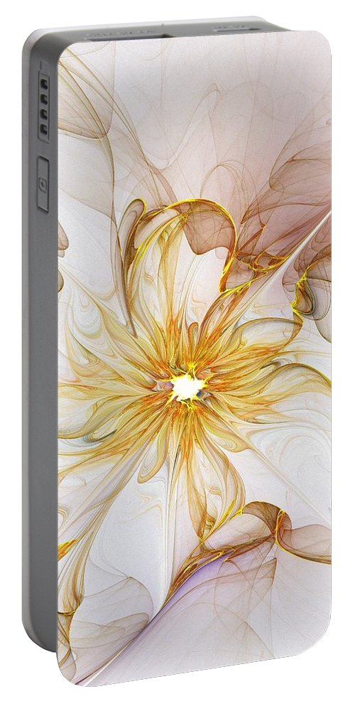 Digital Art Portable Battery Charger featuring the digital art Golden Glow by Amanda Moore