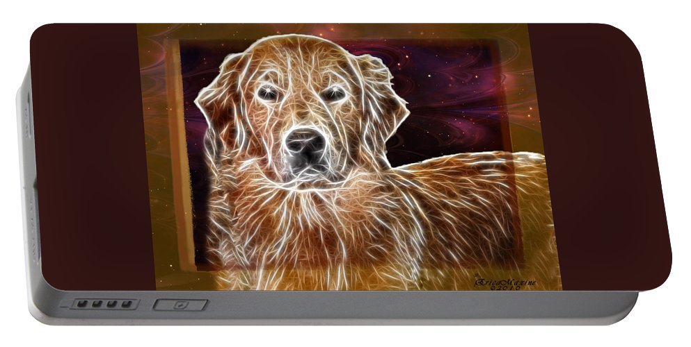 Dog Portable Battery Charger featuring the photograph Golden Glowing Retriever by Ericamaxine Price