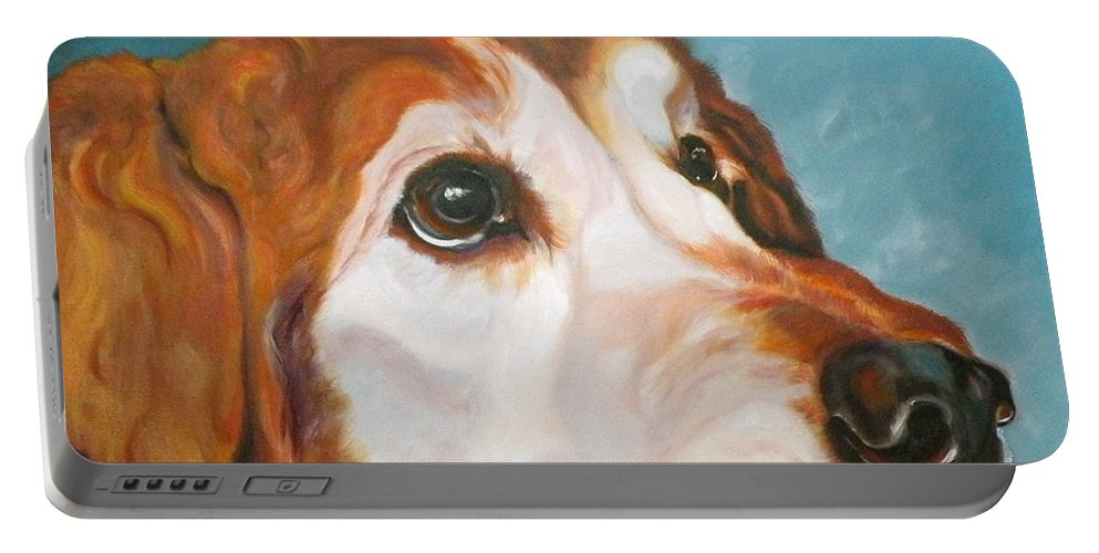 Dogs Portable Battery Charger featuring the painting Golden Grandpa by Susan A Becker