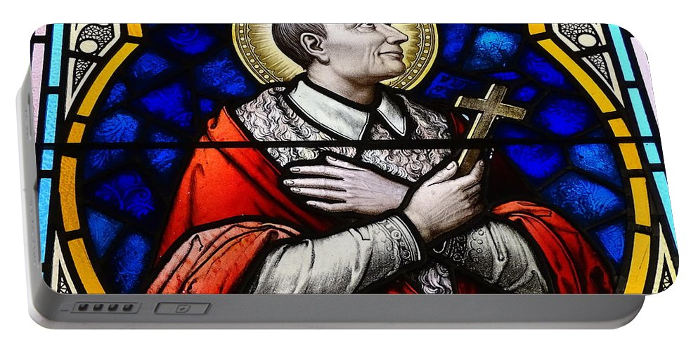 Stained Glass Windows Portable Battery Charger featuring the photograph Golden Halo by Ed Weidman