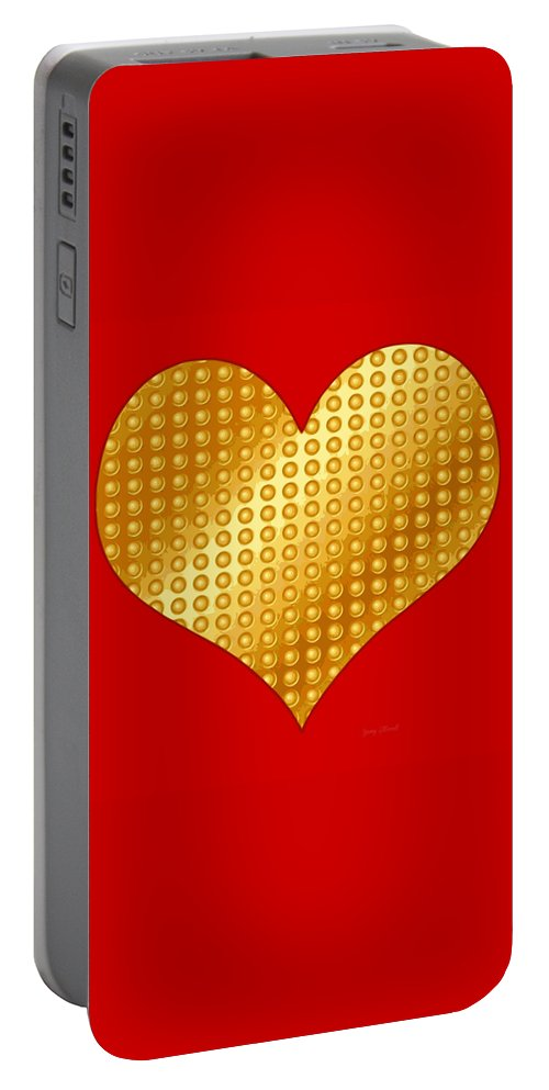 Golden Portable Battery Charger featuring the digital art Golden Heart Red by Yamy Morrell